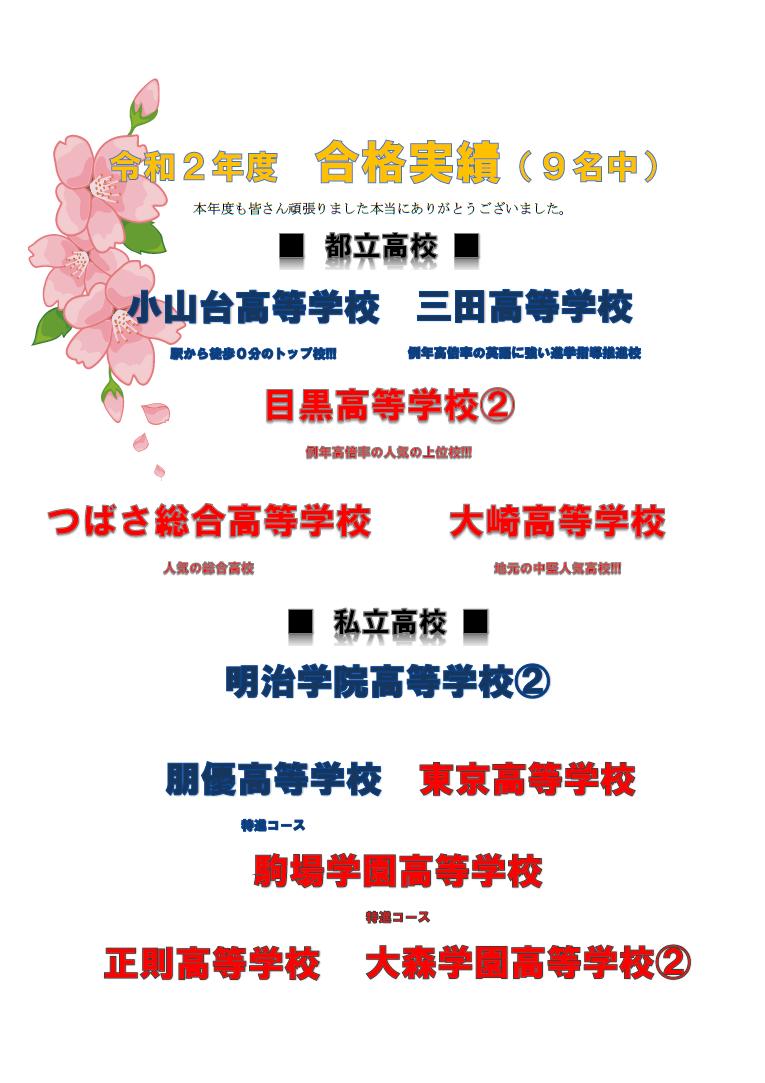 【特報】 令和2年度 高校入試結果発表!!! 小山台, 三田など合格が止まりません!!!