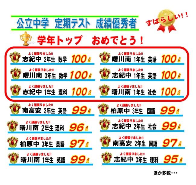 【 ★ 公立中学 成績UP速報 ★ 】