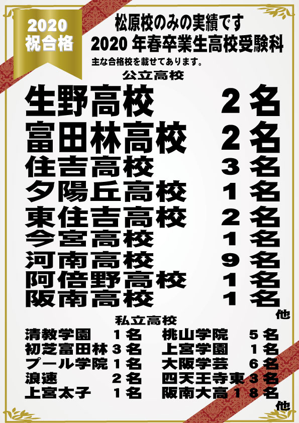2020 府立高校合格者(松原校)