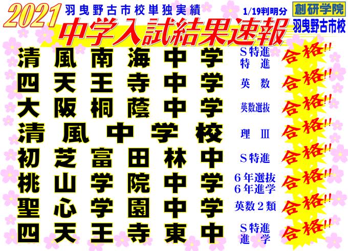 2021 中学入試結果速報 (01月19日現在)