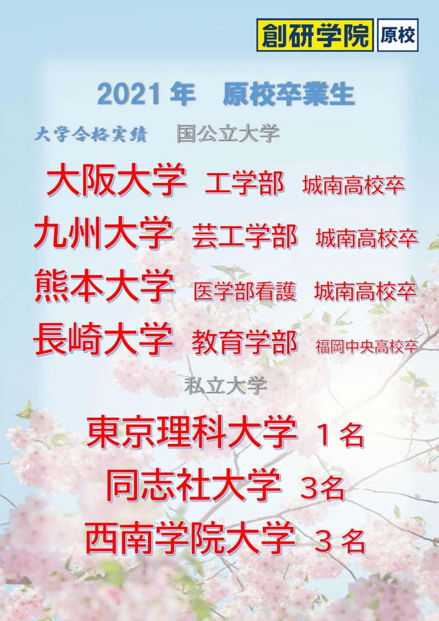 2021年原校大学受験結果(3/15時点)