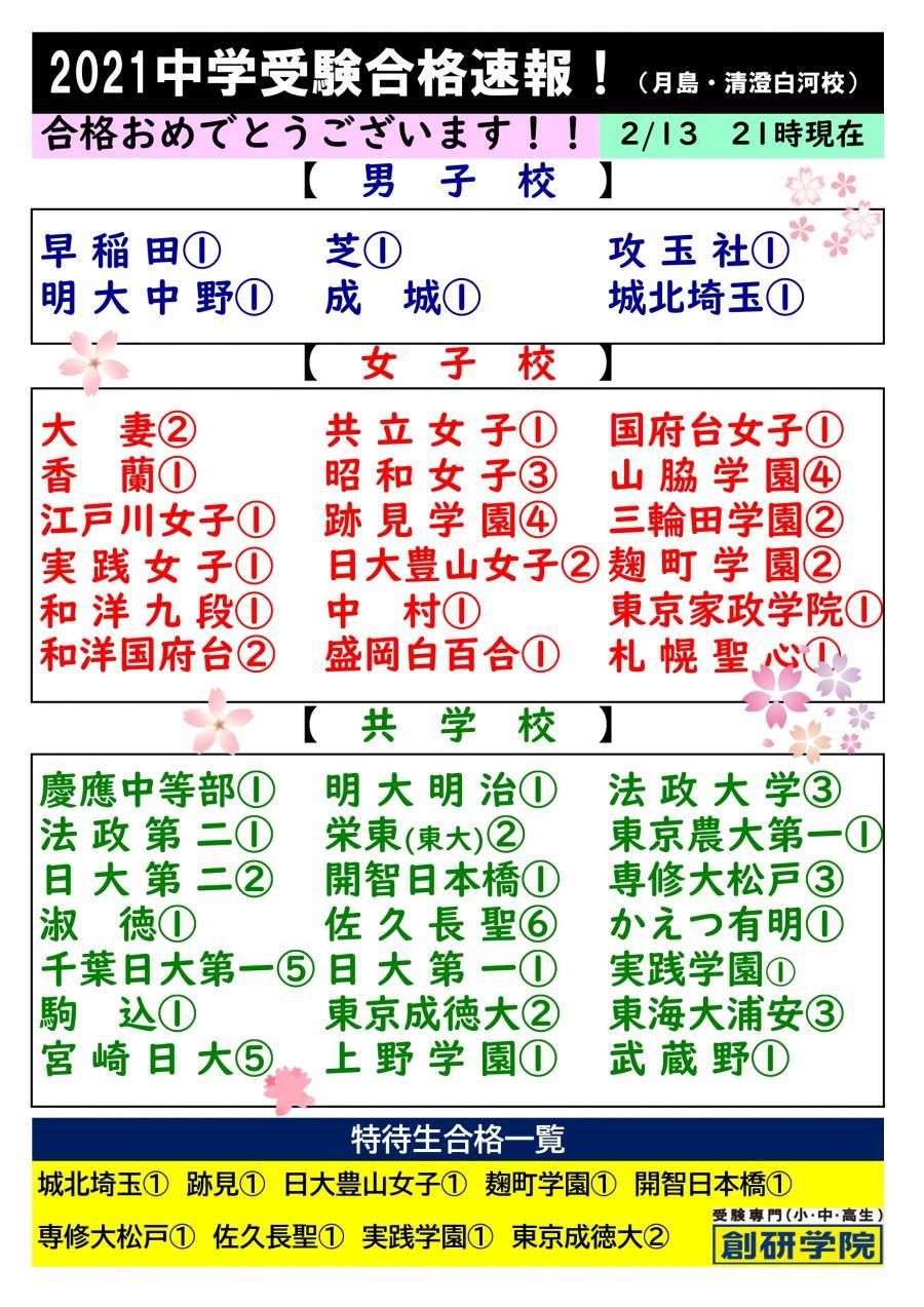 2/13版!中学受験合格校一覧!おめでとうございます!