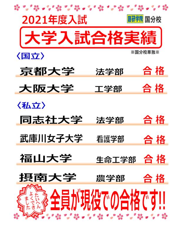 〈京大・阪大合格 !!〉2021年度 大学入試合格実績