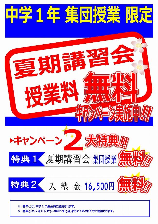 夏期講習会 中学1年生限定キャンペーン実施!